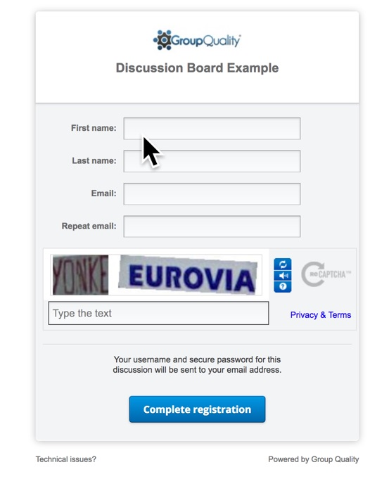 agile online-discussion registration as part of an online survey