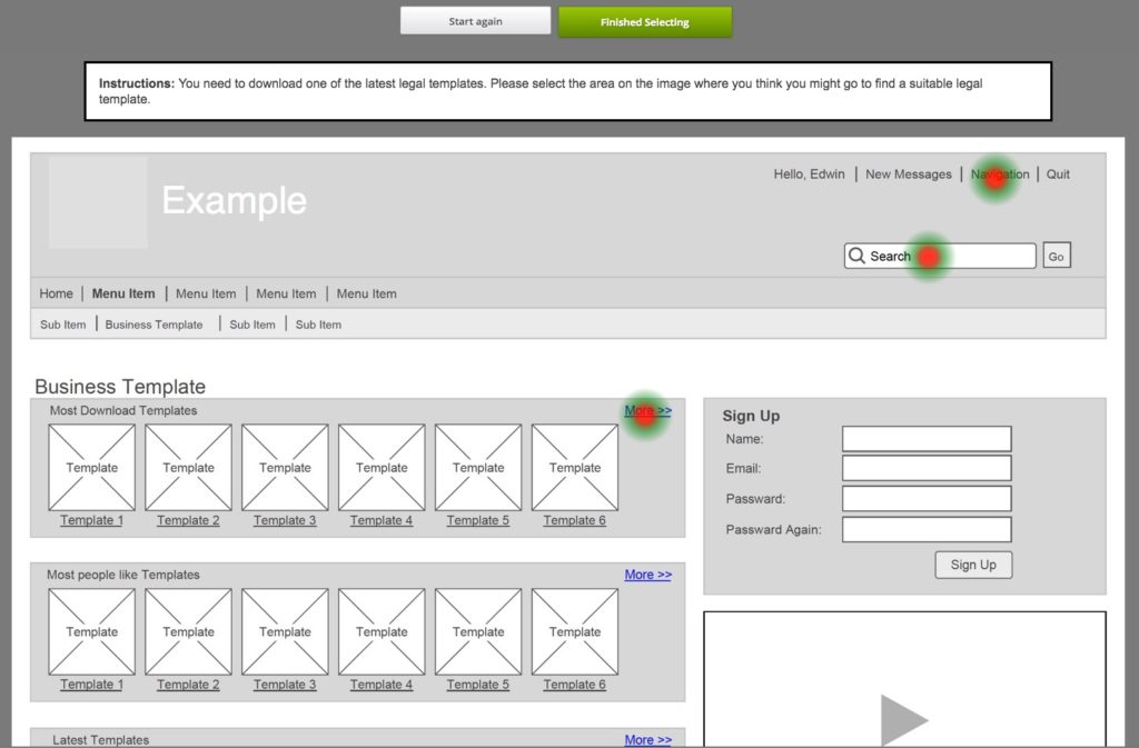 GroupQuality wireframe heatmap user experience research diary