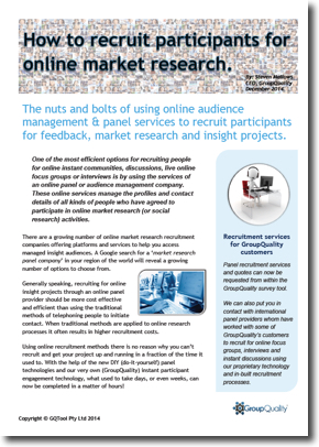 GroupQuality online market research participant recruitment guide